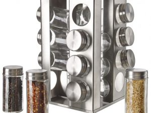 Stainless Steel 16pc Spice Jars w/ Rotating Rack