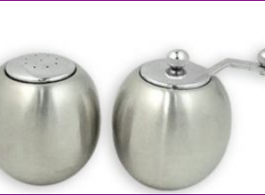 Stainless Steel Round Salt and Pepper Shaker Set