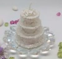 Wedding Cake Candle w/ Italian Crystal Base Favor