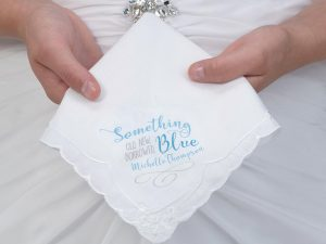 Something Blue Bridal Keepsake Hankie – Personalized