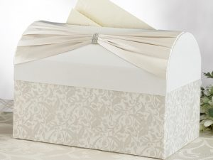 Elegant Card Box with Ivory Satin and Sash