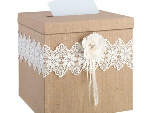 Rustic Burlap & Lace Card Holder