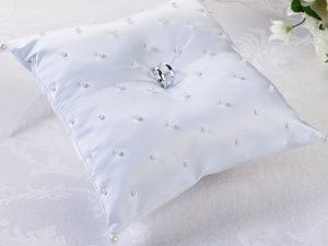 White Scattered Pearl Ring Bearer Pillow