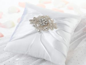 Elegant White Jeweled Ring Bearer Pillow