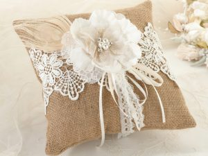 Rustic Burlap & Lace Ring Bearer Pillow