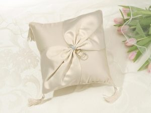 Elegant Ivory Satin Ring Pillow