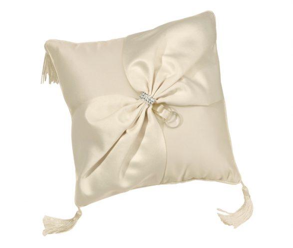 Elegant Ivory Satin Ring Pillow
