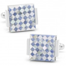 Floating Mother of Pearl Checkered Cufflinks