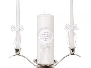 Unity Candle Set with Verse – Pearl Finish