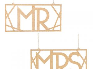 Mr and Mrs Chair Signs: Gold