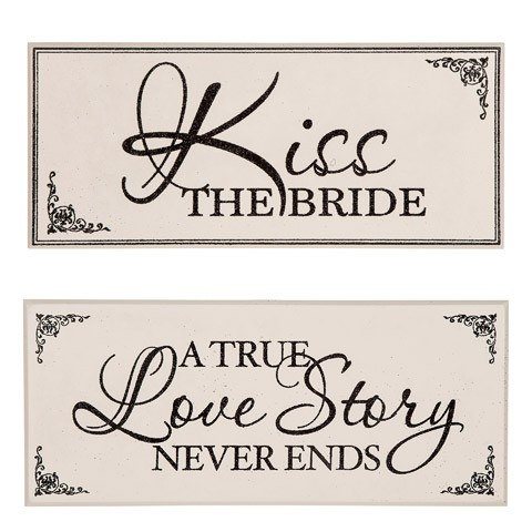 Black & White Wedding Signs: Kiss the Bride/Love Story, 2 Assorted