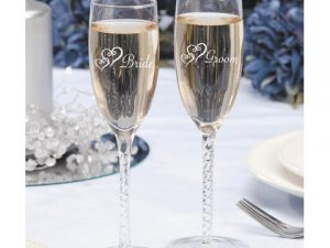 Painted Champagne Glass Set – Twisted Stem