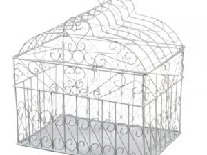 Metal Birdcage Card Holder – White