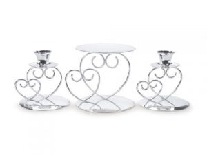 Unity Candle Set – Double Heart – Silver