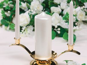 Unity & Two Taper Candle Holder – Gold