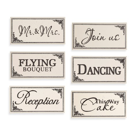 Black & White Wedding Reception Table Block Signs: 6 Assorted