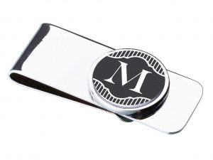 Black Band Monogram Money Clip