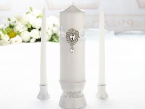 Jeweled Ivory Unity Candle Wedding Ceremony Set