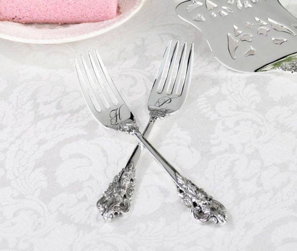 Silver-Plated Cake Forks – Heart Monogram (Personalized)