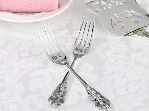 Silver-Plated Wedding Cake Forks – Personalized
