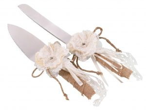 Rustic Burlap & Lace Knife & Server Set