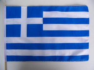 Hand Held Greek Flag on Wooden Stick
