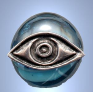 Handmade Glass Magnet with Silver Plated Eye