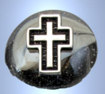 MAGNET WITH GLASS PEARL AND SILVER PLATED CROSS
