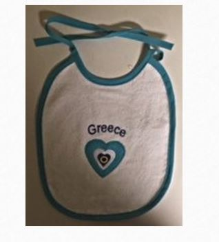 "Baby Bib with ""Greece"" Embroidered"