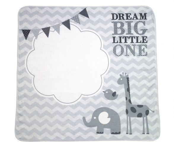 """Dream Big"" Elephant Baby Blanket with Milestone Cards"
