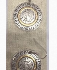 Greek Key Round Silver/Gold Earrings