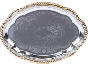 Oval Gold Trim Metal Tray