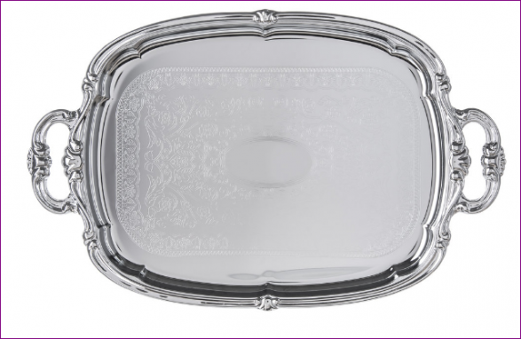 Celebration Embossed Oval Tray with Integral Handles