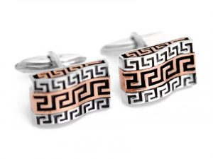 Dual Tone Wave Greek Key Design Cufflinks