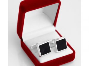 Engraved Cufflinks with Greek Key Design
