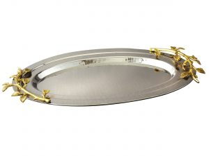 Golden Vine Hammered Oval Tray