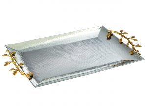 Golden Vine Hammered Rectangle Tray
