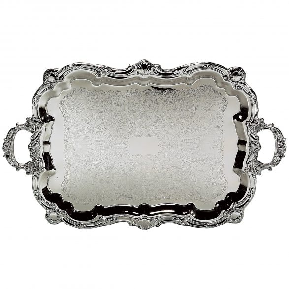 Baroque Silver Plated Tray with Handles