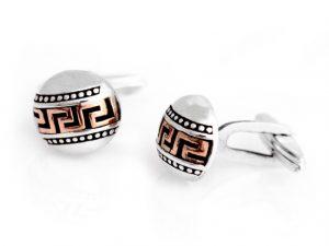 Round Dual Tone Greek Key Design Cufflinks