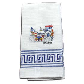 Decorative Embroidered Kitchen Towel Santorini