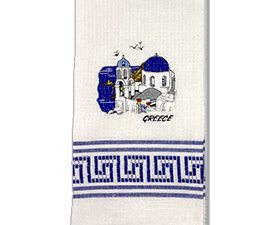 Decorative Embroidered Kitchen Towel Santorini Church Scene