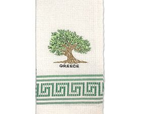 Decorative Embroidered Kitchen Towel Greek Olive Tree