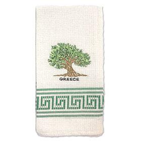 Decorative Embroidered Kitchen Towel Greek Olive Tree