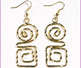 Hammered Greek Key and Spiral Gold Earrings