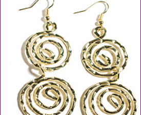 Hammered Gold Double Spiral Earrings