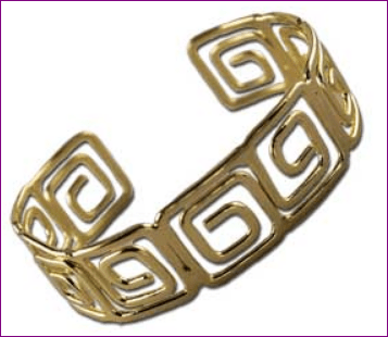 Gold Stainless Steel Cuff Bracelet – Large Greek Key Motif Style