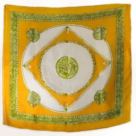 Authentic Greek Silk Shawl / Scarf w/ Byzantine Shield Motif – Gold and Green Tones
