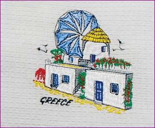 Embroidered Kitchen Towel Mykonos Scene