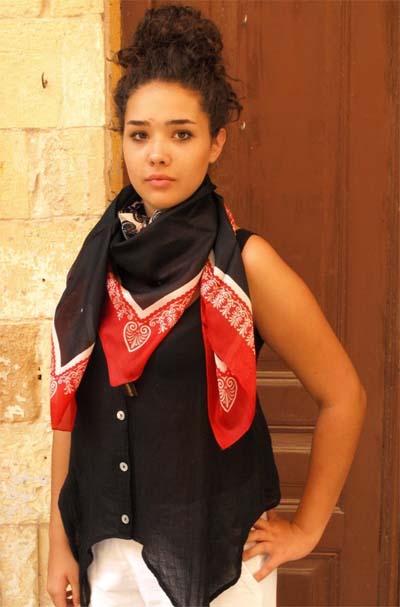 Authentic Greek Silk Shawl / Scarf Red/Black Akrokeramo Design