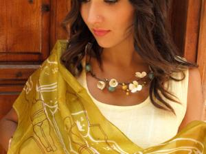 Cycladic Idol Silk Scarf – Gold Color